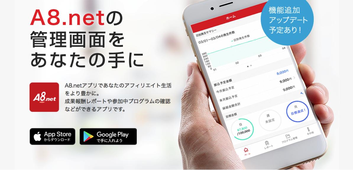 アフィリエイターに朗報!あの「A8.net」に公式アプリが登場!